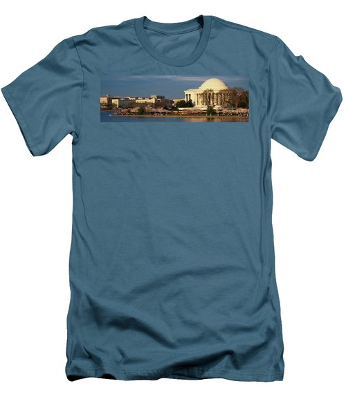 Panoramic View Of Jefferson Memorial Men's T-Shirt (Slim Fit) by Panoramic Images