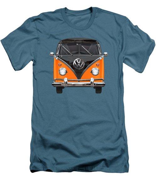 Volkswagen Type 2 - Black And Orange Volkswagen T 1 Samba Bus Over Blue Men's T-Shirt (Slim Fit) by Serge Averbukh