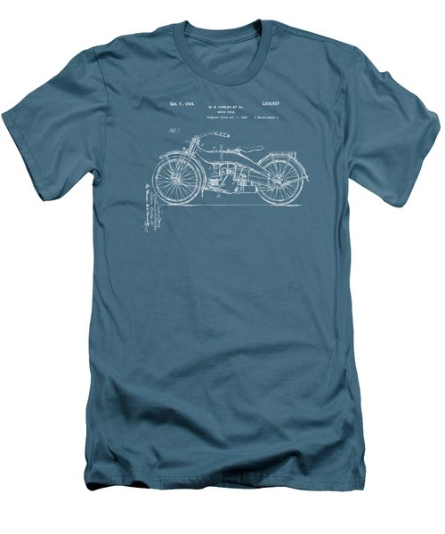 1924 Harley Motorcycle Patent Artwork Blueprint Men's T-Shirt (Slim Fit) by Nikki Marie Smith