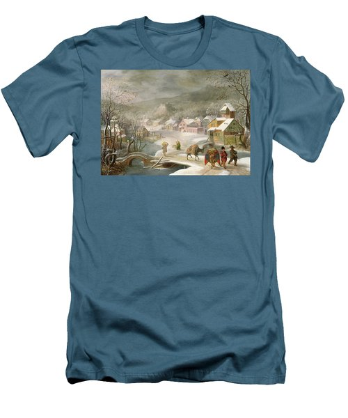 A Winter Landscape With Travellers On A Path Men's T-Shirt (Slim Fit) by Denys van Alsloot