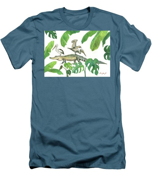 Alligator And Pelicans Men's T-Shirt (Slim Fit) by Juan Bosco