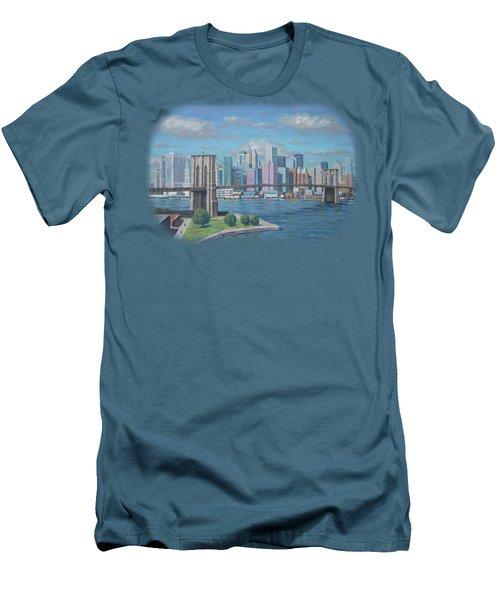 New York Brooklyn Bridge Men's T-Shirt (Slim Fit) by Renato Maltasic
