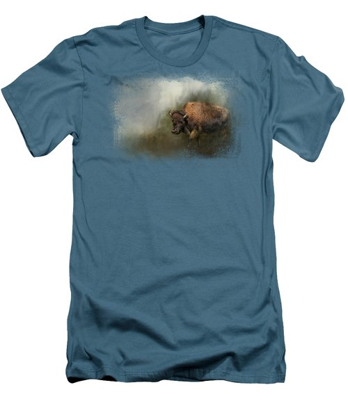Bison After The Mud Bath Men's T-Shirt (Slim Fit) by Jai Johnson