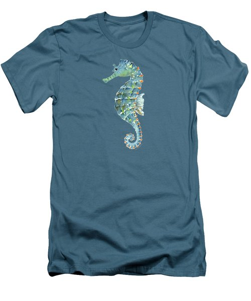 Blue Seahorse Men's T-Shirt (Slim Fit) by Amy Kirkpatrick