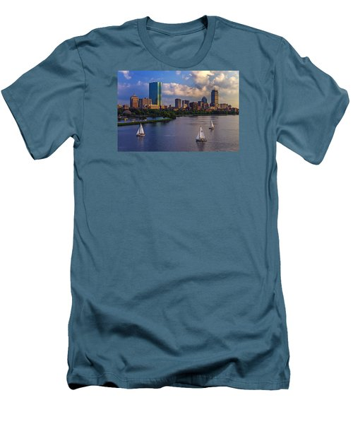 Boston Skyline Men's T-Shirt (Slim Fit) by Rick Berk