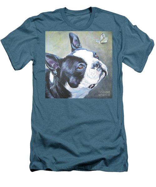 boston Terrier butterfly Men's T-Shirt (Slim Fit) by Lee Ann Shepard