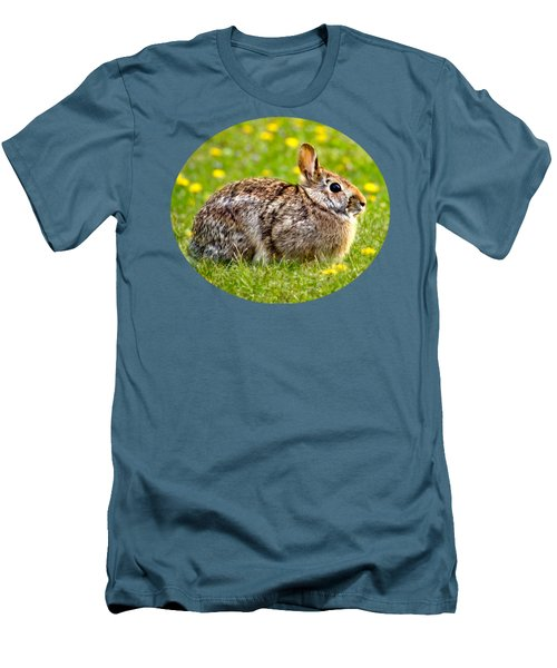 Brown Bunny In Green Grass Men's T-Shirt (Slim Fit) by Christina Rollo