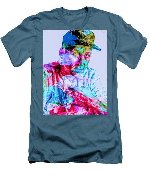 Cal Ripken Jr Baltimore Oriole Painted Digitally Men's T-Shirt (Slim Fit) by David Haskett