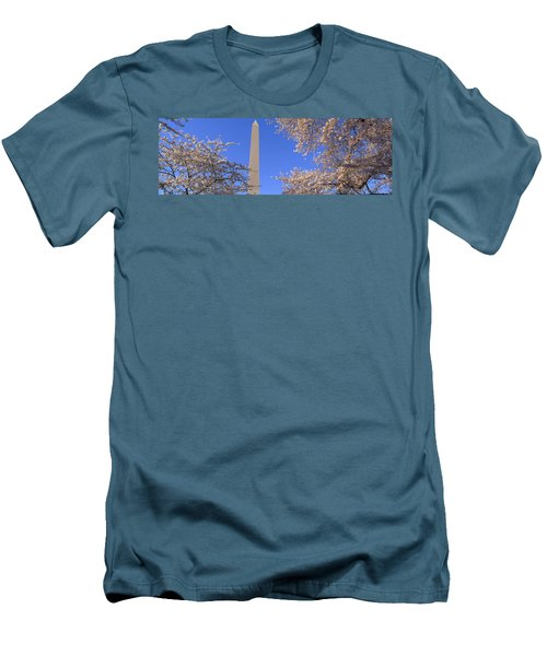 Cherry Blossoms And Washington Men's T-Shirt (Slim Fit) by Panoramic Images