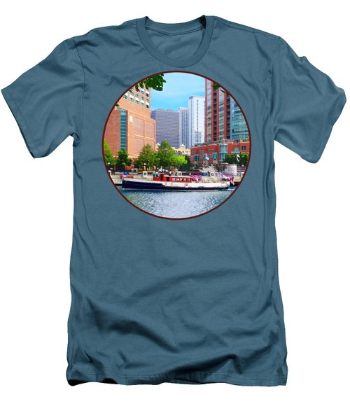 Chicago Il - Chicago River Near Centennial Fountain Men's T-Shirt (Slim Fit) by Susan Savad