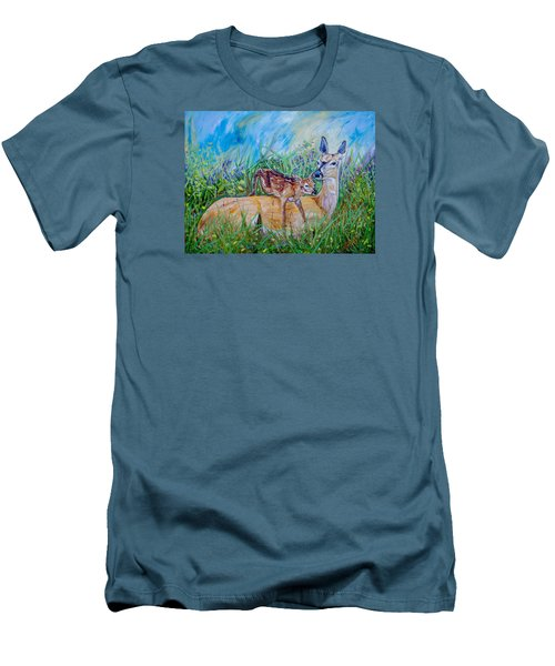 Deer Mom And Babe 24x18x1 Oil On Gallery Canvas Men's T-Shirt (Slim Fit) by Manuel Lopez