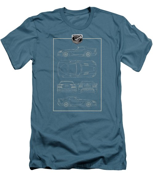 Dodge Viper  S R T 10  Blueprint With Dodge Viper  3 D  Badge Over Men's T-Shirt (Slim Fit) by Serge Averbukh