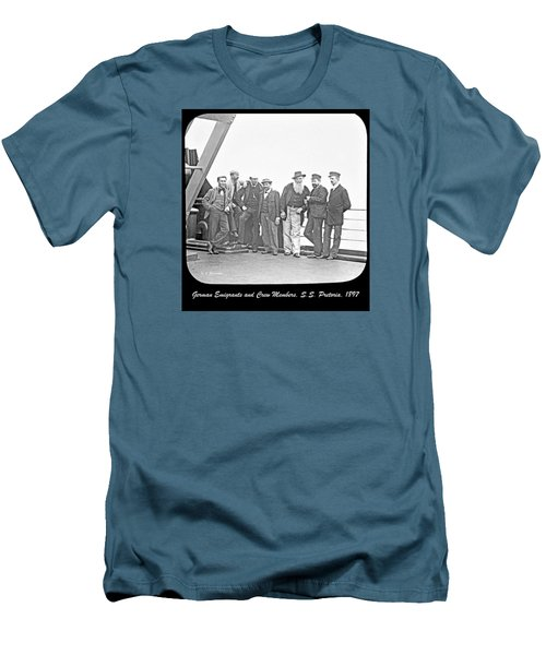 Men's T-Shirt (Slim Fit) featuring the photograph Emigrants Passangers And Crew Members On Deck Of Ss Pretori by A Gurmankin