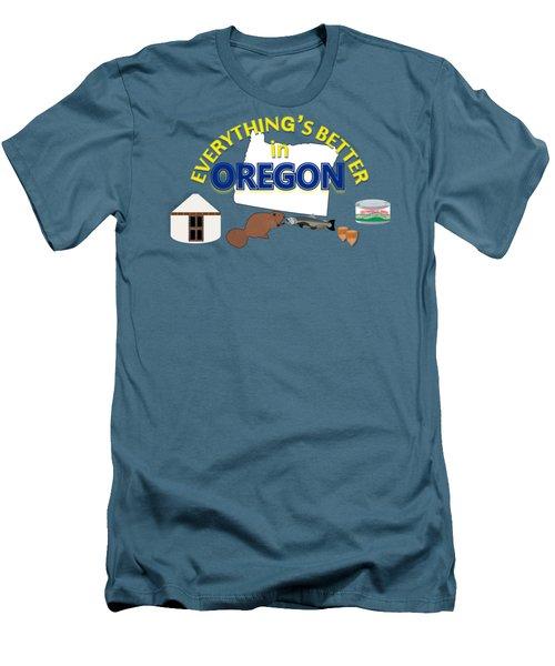 Everything's Better In Oregon Men's T-Shirt (Slim Fit) by Pharris Art