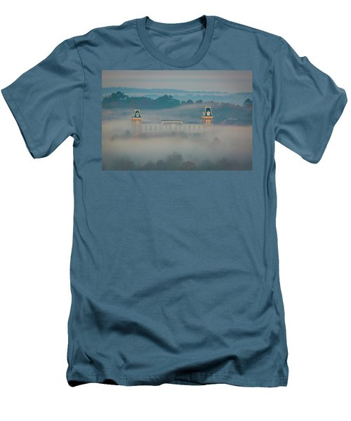 Fog At Old Main Men's T-Shirt (Slim Fit) by Damon Shaw