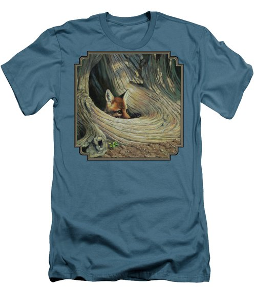 Fox - It's A Big World Out There Men's T-Shirt (Slim Fit) by Crista Forest