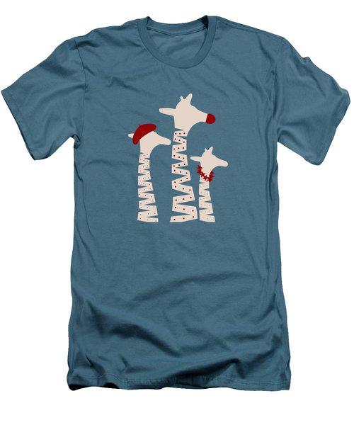 Giraffes Holiday Season Design Men's T-Shirt (Slim Fit) by Brigitte Carre