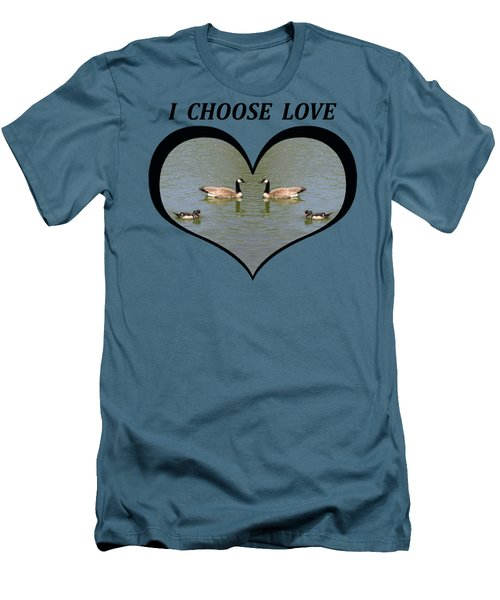 I Chose Love With A Spoonbill Duck And Geese On A Pond In A Heart Men's T-Shirt (Slim Fit) by Julia L Wright