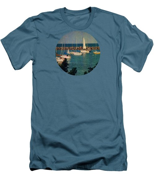 Lake Michigan Sailboats Men's T-Shirt (Slim Fit) by Mary Wolf