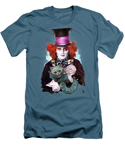 Mad Hatter And Cheshire Cat Men's T-Shirt (Slim Fit) by Melanie D
