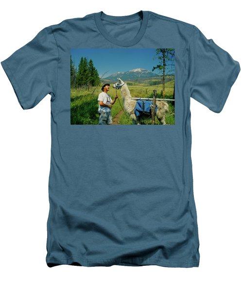 Man Teasing A Llama Men's T-Shirt (Slim Fit) by Jerry Voss