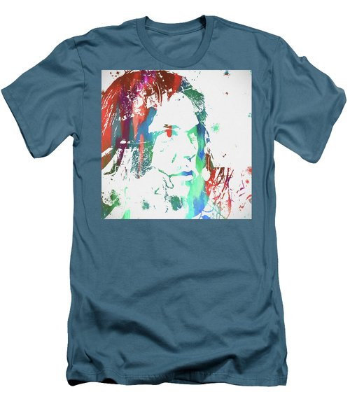 Neil Young Paint Splatter Men's T-Shirt (Slim Fit) by Dan Sproul