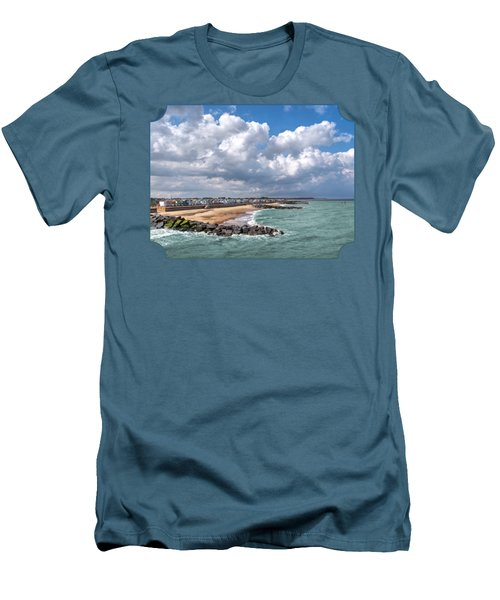 Ocean View - Colorful Beach Huts Men's T-Shirt (Slim Fit) by Gill Billington