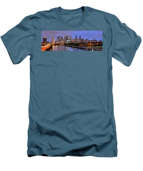 Philadelphia Philly Skyline At Dusk From Near South Color Panorama Men's T-Shirt (Slim Fit) by Jon Holiday