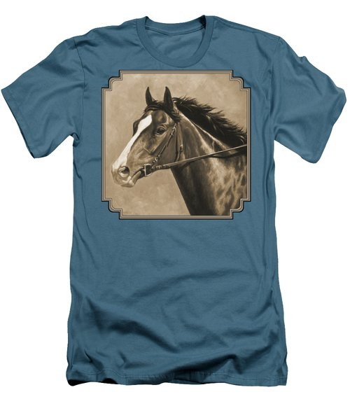 Racehorse Painting In Sepia Men's T-Shirt (Slim Fit) by Crista Forest