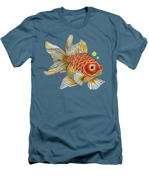 Red Telescope Goldfish Men's T-Shirt (Slim Fit) by Shih Chang Yang