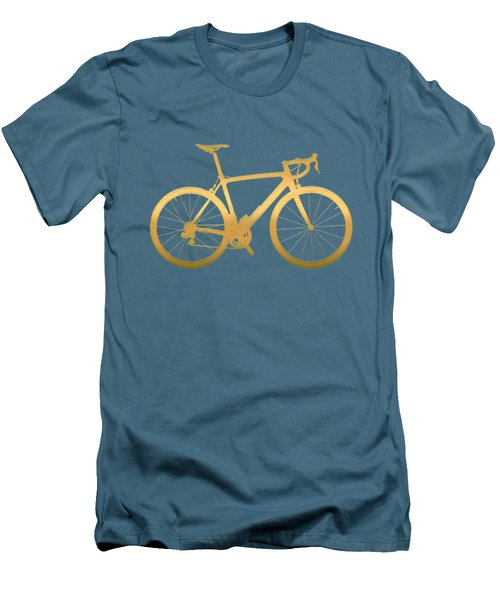 Road Bike Silhouette - Gold On Beige Canvas Men's T-Shirt (Slim Fit) by Serge Averbukh