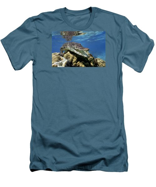 Saltwater Crocodile Smile Men's T-Shirt (Slim Fit) by Mike Parry