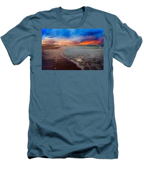 Sandpiper Sunrise Men's T-Shirt (Slim Fit) by Betsy Knapp