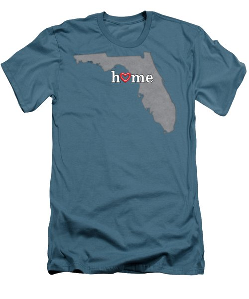State Map Outline Florida With Heart In Home Men's T-Shirt (Slim Fit) by Elaine Plesser