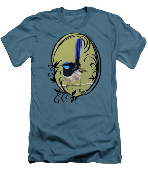 Superb Blue Wren Australian Bird Men's T-Shirt (Slim Fit) by Lorraine Kelly
