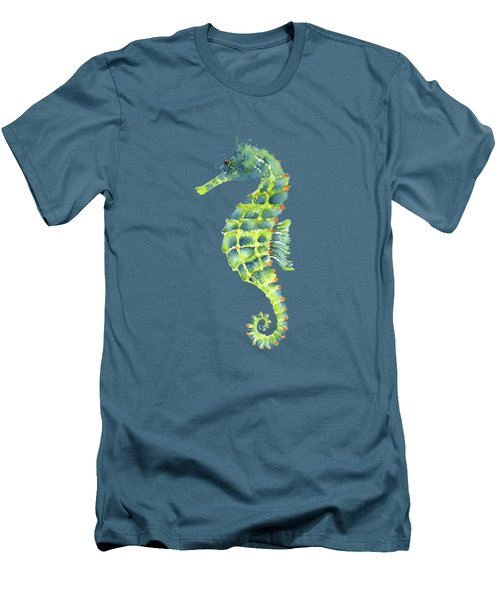 Teal Green Seahorse Men's T-Shirt (Slim Fit) by Amy Kirkpatrick