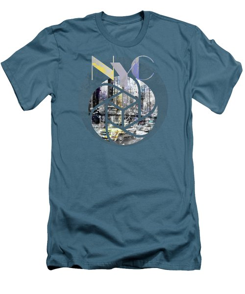 Trendy Design New York City Geometric Mix No 4 Men's T-Shirt (Slim Fit) by Melanie Viola