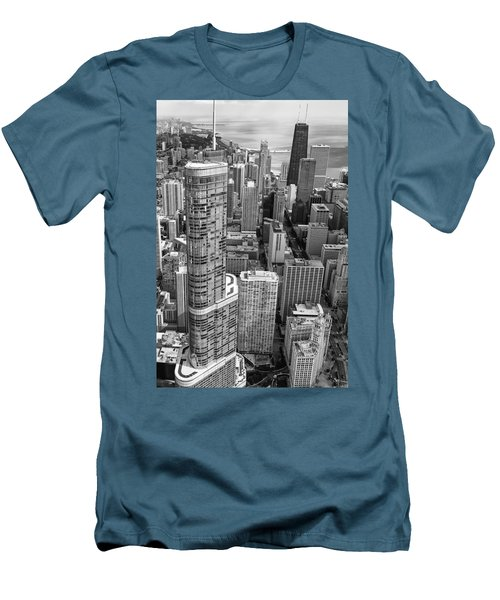 Trump Tower And John Hancock Aerial Black And White Men's T-Shirt (Slim Fit) by Adam Romanowicz