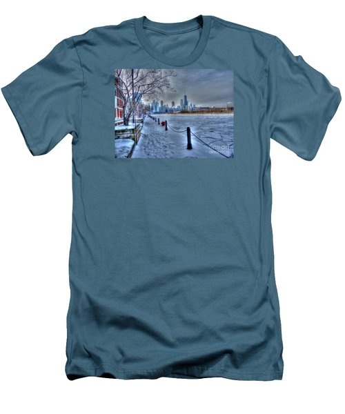 West From Navy Pier Men's T-Shirt (Slim Fit) by David Bearden