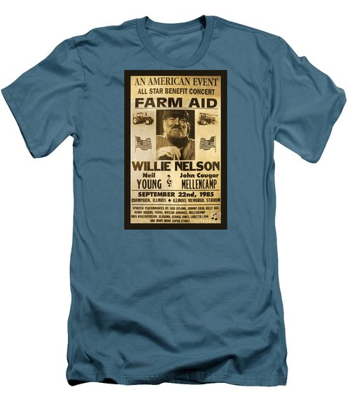 Willie Nelson Neil Young 1985 Farm Aid Poster Men's T-Shirt (Slim Fit) by John Stephens