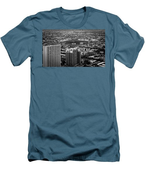 Wrigley Field Park Place Towers Day Bw Dsc4575 Men's T-Shirt (Slim Fit) by Raymond Kunst