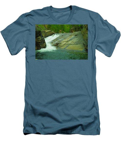 Yak Falls   Men's T-Shirt (Slim Fit) by Jeff Swan