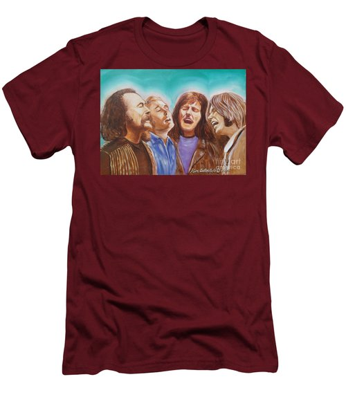 Crosby Stills Nash And Young Men's T-Shirt (Slim Fit) by Kean Butterfield