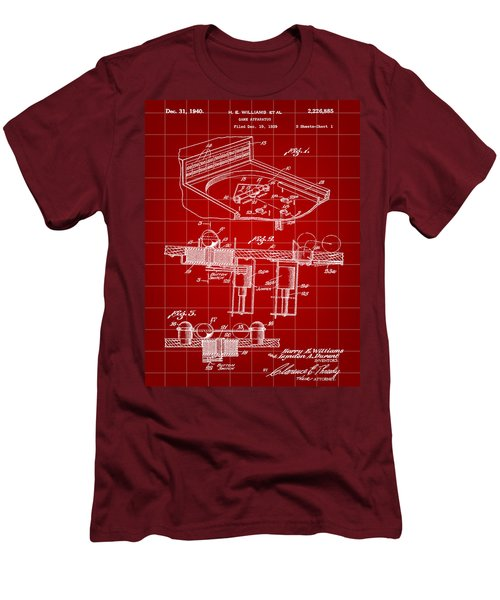 Pinball Machine Patent 1939 - Red Men's T-Shirt (Slim Fit) by Stephen Younts