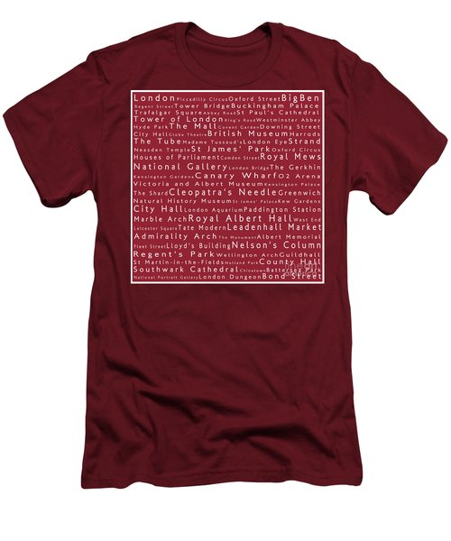 London In Words Red Men's T-Shirt (Slim Fit) by Sabine Jacobs