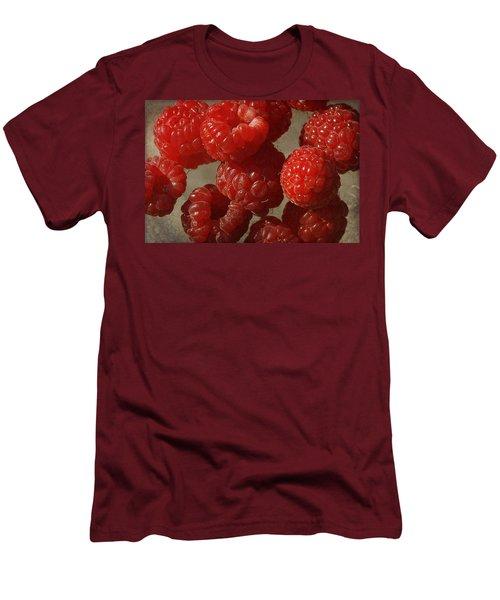 Red Raspberries Men's T-Shirt (Slim Fit) by Cindi Ressler