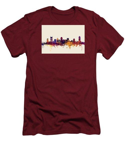 Nashville Tennessee Skyline Men's T-Shirt (Slim Fit) by Michael Tompsett