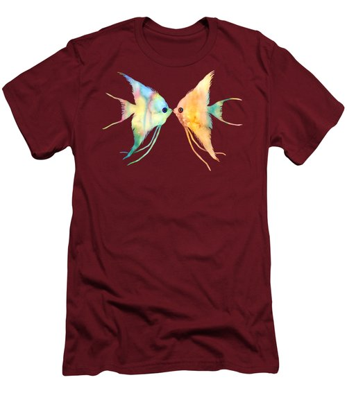 Angelfish Kissing Men's T-Shirt (Slim Fit) by Hailey E Herrera