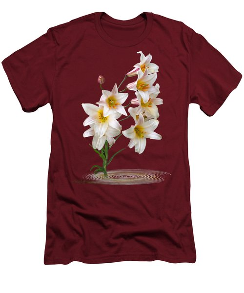 Cascade Of Lilies On Black Men's T-Shirt (Slim Fit) by Gill Billington