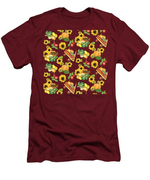 Celebrate Abundance Harvest Half Drop Repeat Men's T-Shirt (Slim Fit) by Audrey Jeanne Roberts